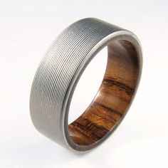 Titanium and Teak Men's Wedding Band