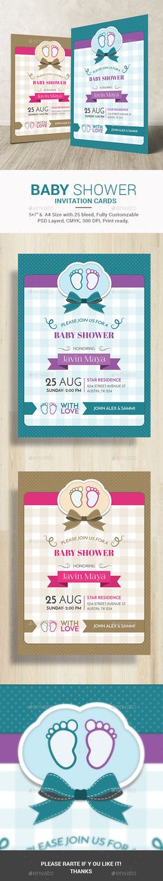 Printable a4 baby shower invitation for boys is the best choice to invite your keens with care. It's also a great baby shower invitation template for girls as well as this comes in 2 variations and in 2 colors, pink and blue. http://graphicriver.net/item/baby-shower-invitation-card/11047862?ref=themedevisers