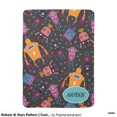 Robots & Stars Pattern | Custom Name Receiving Blanket