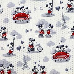 Perfect for Valentine's Day! This vintage Disney print features Mickey and Minnie Mouse in Paris. These romantic scenes, set on a polka dot background, are perfect for decor, quilting, and crafting. An ideal companion to any print in the Disney Vintage Mickey and Minnie Mouse fabric collection.