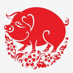 Happy chinese new year 2019 Zodiac sign year of the pig with red paper cut art and craft style on color Background.(Chinese Translation : Year of the pig) Chinese New Year Zodiac, Chinese New Year Gifts, Thanksgiving Bible Verses, Pig Images, Chinese Paper Cutting, Pig Art, New Year Designs, Paper Art, Red Paper