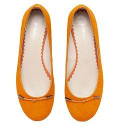 Orange pony skin ballet flats. By Sambag.