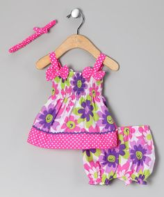 Take a look at this Pink & Purple Flower Garden Dress Set - Infant by Mon Petit on #zulily today!