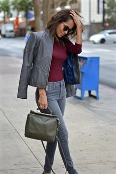 Gorgeous gray leather jacket with corset detailing from Marshalls. Paired with stone gray skinnies, a burgundy turtleneck and some simple black flats for a chic day in the city. Grey Leather Jacket, Leather Jacket Outfits, Gray Jacket, Fall Maternity Outfits, Maternity Fashion, Cool Outfits, Casual Outfits, Marshalls, Business Attire