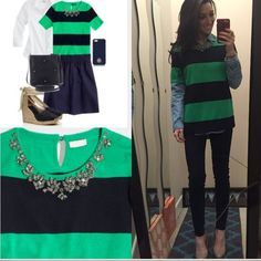 """J. Crew SHORT-SLEEVE STRIPE NECKLACE SWEATER J.Crew Factory. This is one of my favorites. Green/navy with jewel detail around the collar. Perfect condition. Size M. •armpit to armpit 18"""" •L 24"""" price is not firm, but it must be reasonable. J.Crew Factory Sweaters Crew & Scoop Necks"""