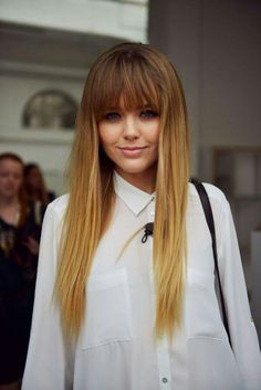 Love the heavy bangs and pin straight hair
