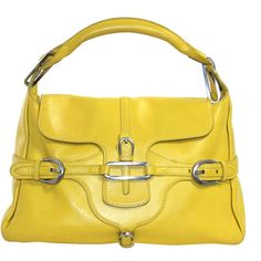 Pre-owned Jimmy Choo Yellow Leather Tulita Bag ($399) ❤ liked on Polyvore featuring bags, handbags, shoulder bags, handbags and purses, leather shoulder bag, yellow handbag, shoulder handbags, buckle purses and leather purse