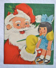 Vintage Christmas Card Santa and Doll by Pumpkintruckpaper
