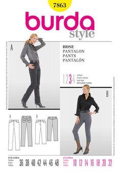 Burda Ladies Sewing Pattern 7863 - Cropped & Full Length Jeans Pants Sizes: 10-22