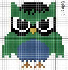 Cross Stitch Owl, Cross Stitch Freebies, Cross Stitch Animals, Cross Stitching, Cross Stitch Patterns, Owl Perler, Crochet Owls, Fuse Beads, Perler Beads