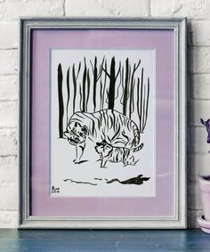 Mother and Baby tiger together in the snowy forest. Tigers are compassionate animals and very much loyal to each other. Watermark doesn't appear in the original artwork. Size of the painting 20 x cm / x in Painted with Indian ink on co Watercolor Artists, Ink Painting, Watercolor Paper, Tiger Illustration, Illustration Artists, Snowy Forest, Black White Art, Tigers, Original Artwork