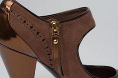 f1c276b7198 Louis Vuitton Suede   Metallic Patent Trim Heels