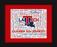 This is a beautiful, unique Art Piece inspired by the Louisiana Tech University is the perfect gift for any true Bulldogs fan. It is so unique and exclusive that it cannot be found anywhere else.  The distinctive, full color artwork includes over 100 popular phrases, sayings and traditions along with listings of popular events, famous landmarks and other identifiers, to create an incredible lasting tribute to this very special university.  The artwork is produced on a large high-quality ...