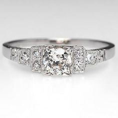 Antique Engagement Ring w/ Old Euro Diamond Platinum. this looks like it was made to go with my great aunt's one of a kind wedding band. Antique Diamond Rings, Platinum Diamond Rings, Antique Engagement Rings, Diamond Engagement Rings, Bling Bling, Minions, Ring Verlobung, Diamond Are A Girls Best Friend, Wedding Rings