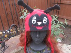 Lady Bug Fleece Hat with Ear Flaps by clriegs on Etsy, $25.00