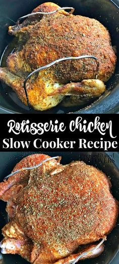 Crisp, well seasoned, and easy this Slow Cooker Rotisserie Chicken Recipe makes your life so much easier! Crisp, well seasoned, and easy this Slow Cooker Rotisserie Chicken Recipe makes your life so much easier! Slow Cooker Huhn, Crock Pot Slow Cooker, Slow Cooker Chicken, Slow Cooker Recipes, Crockpot Recipes, Cooking Recipes, Crockpot Rotisserie Chicken, Cooked Chicken, Recipes