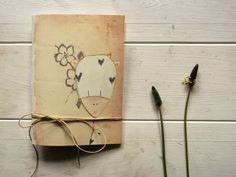 funny cow pocket journal blank notebook -  hand  binding travel Journal - flowers by vumap on Etsy