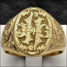 Custom hand engraved Luxury signet rings