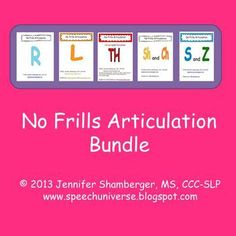 A huge bundle of No Frills Articulation activities for S, Z, R, L, Th, Sh, and Ch.  Words, phrases, sentences, and stories.