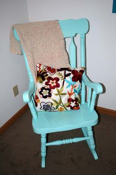 Refinished, Repainted, Slightly Distressed Rocking Chair For Nursery