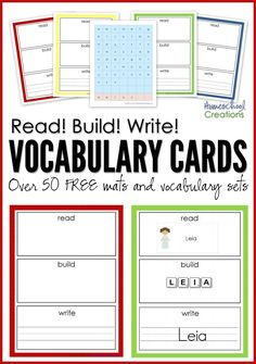 Read, build, write vocabulary mats - over 50 free printables for children to read the word, build it, and write it! Kindergarten Reading, Teaching Reading, Free Reading, Kindergarten Vocabulary, Literacy, Teaching Spanish, Learning, Vocabulary Cards, Vocabulary Activities