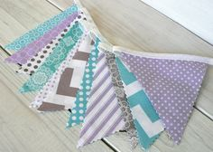 Bunting, Banner, Fabric Flags, Girl Nursery Decor, Photography Prop - Lavender, Purple, Gray and Aqua Blue Chevron Geometric - Ready to Ship