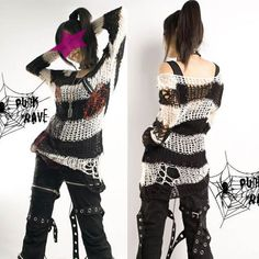 Goth Punk Emo Clothing Black and White Stripe Long Sweater SKU-11411001