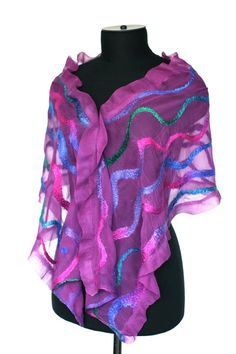 photos of felted scarves made during 2009 - 2011