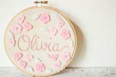 Customized Name Embroidery and Felt Hoop Art by bluewithoutyoukids, $25.00