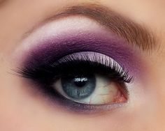 plum purple, sparkly white and black eyeshadow