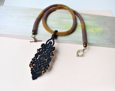 Bead crochet necklace rope with a micro macrame by MartaJewelry