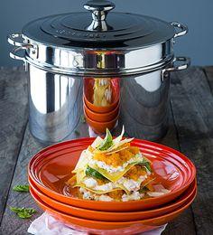 Butternut and Ricotta Open Lasagne - Le Creuset Recipes Vegetarian Lasagne, Vegetarian Dish, Meat Recipes, Cooking Recipes, Pasta, Roasted Butternut, Light Recipes, Yummy Snacks, Bon Appetit