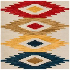 Safavieh Handmade Aspen Velma Boho Tribal Wool Rug x Square - Ivory/Multi), Blue Casual Home Decor, Rustic Chic Decor, Wool Area Rugs, Blue Area Rugs, Wool Rugs, Kilim Rugs, Tapete Floral, Southwestern Area Rugs, Wool Carpet