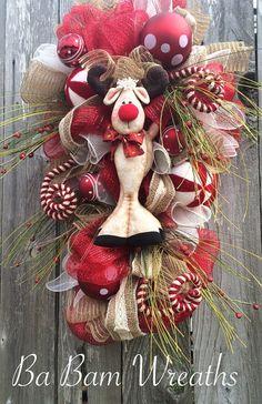 Christmas Wreath Rustic Christmas Wreath Reindeer by BaBamWreaths