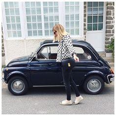Instagram media by anne_lde - F i a t 5 0 0  #weekend#famille #outfitoftheday | Veste (new co) #iro#iroparis | Blouse #bashparis | Jean #zara#zarawoman | Espadrilles #chanel | Sac & Lunettes #celine#classicbox#celinebag  Week end parfait avec ma Famille  #bonheur#love#family#labaule
