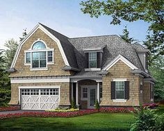 House Plan 87405 - Craftsman, Farmhouse Style House Plan with 1285 Sq Ft, 2 Car Garage Carriage House Plans, Barn House Plans, Country House Plans, Craftsman Farmhouse, Craftsman Style House Plans, Farmhouse Style, Farmhouse Front, Country Style, Garage To Living Space