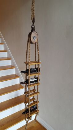 Vintage Pulley Hanging Wine Rack by woskab on Etsy Diy Vintage, Vintage Wood, Decor Vintage, Design Vintage, Reclaimed Hardwood Flooring, Hanging Wine Rack, Wine Racks, Wall Fixtures, Wine Storage