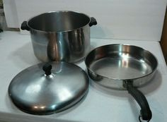 Vintage Farberware 8 Qt.Stock Pot with Lid Stainless Steel / Aluminum & Frypan