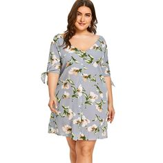 Style: Casual : Material: Polyester : Silhouette: Straight : Dresses Length: Mini : Neckline: V-Neck : Sleeve Length: Half Sleeves : Pattern Type: Floral : With Belt: No : Season: Spring/Summer : Weight: kg : Package Contents: 1 x Dress: Trendy Plus Size Clothing, Plus Size Dresses, Plus Size Outfits, Nice Dresses, Plus Size Kleidung, Straight Dress, Button Dress, Cold Shoulder Dress, Fashion Outfits