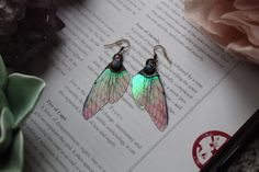 Iridescent Fairy Wing Earrings in Pink with Moonstone