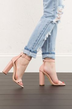 Heeled Sandals in Dusty Pink, Black and Nude