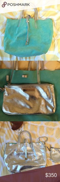 Tiffany & Co reversible Tiffany blue and silver Small purse by Tiffany & Co with matching clutch inside. This bag is completely reversible - one side suede Tiffany blue and the other a shiny silver. Tiffany & Co. Bags
