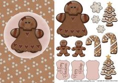 Christmas Gingerbread on Craftsuprint designed by Eileen Deliot - A nice sheet with gingerbread.  - Now available for download!