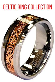 This ring is crafted out of the highest quality tungsten carbide! Next, the ring has been designed with a 18K rose gold plated celtic dragon inlay going through the center of the ring. The outer edges of the tungsten have been completed wit ha high polished finish.