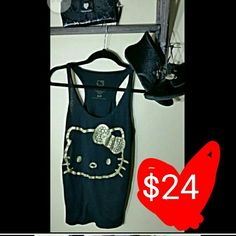 HELLO KITTY TANK TOP AND MOCCASINS/ BOOTIES INDIVIDUAL PRICING: Tank...............$15 Shoes.............$33 Hello Kitty Tops Tank Tops