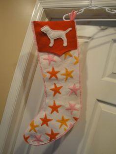 RARE Victoria's Secret Pink Christmas Stocking White w Stars Dog   eBay