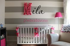 gray stripes   a bright pop of color!!  Pink could easily be changed to lime or orange for a boy's room!!