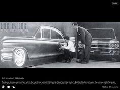 Dave Holls airbrushing 59 Cadillac,Chuck Jordan looking on.