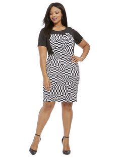Plus Size ELOQUII Checkerboard Printed Dress