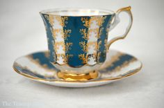 Elizabethan Turquoise and White Teacup Set With by TheTeacupAttic